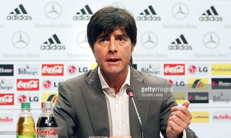 Germany's national football team's head coach Joachim Loew addresses a press conference 30 May 2007 in Herzogenaurach, southern Germany, prior their Euro 2008 qualifier match against San Marino against 02 June 2007. The day before, Loew had insisted his injury-hit side have a duty to take six points from their double-header Euro 2008 qualifiers against San Marino and Slovakia. Germany are top of Group D and level on points with the Czech Republic and Republic of Ireland.