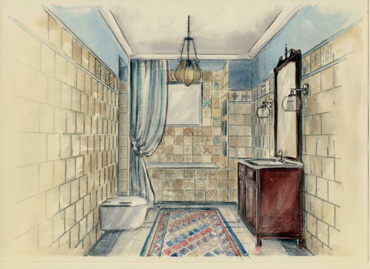 bathroom sketch by watercolor