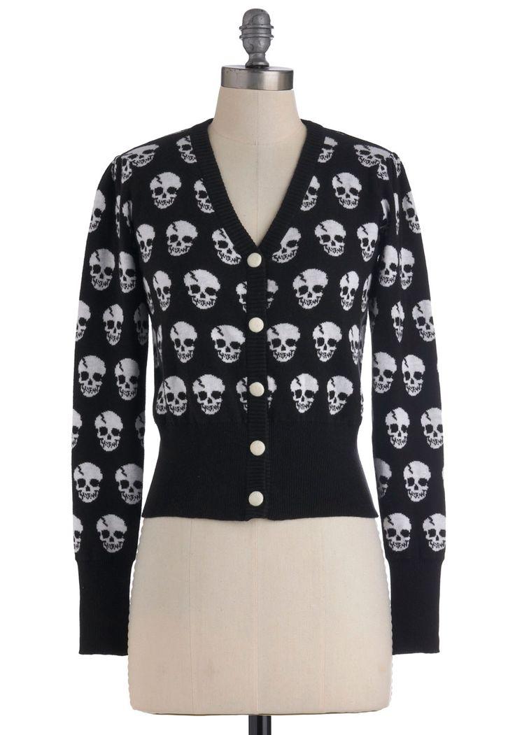 Dia de los Muertos Cardigan in Black   Mod Retro Vintage Sweaters   ModCloth.com: Session Cardigans, Skull Print, Black Skull, Of The, Skull Sweater, Dead, Day, Muertos Cardigans, Retro Vintage