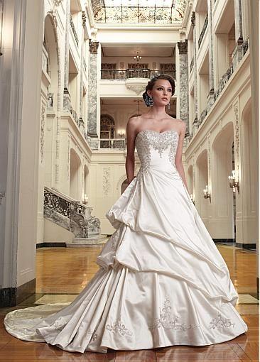 Image of Charming Fashionable Satin A-line Sweetheart Neckline Raised Waist Wedding Dress