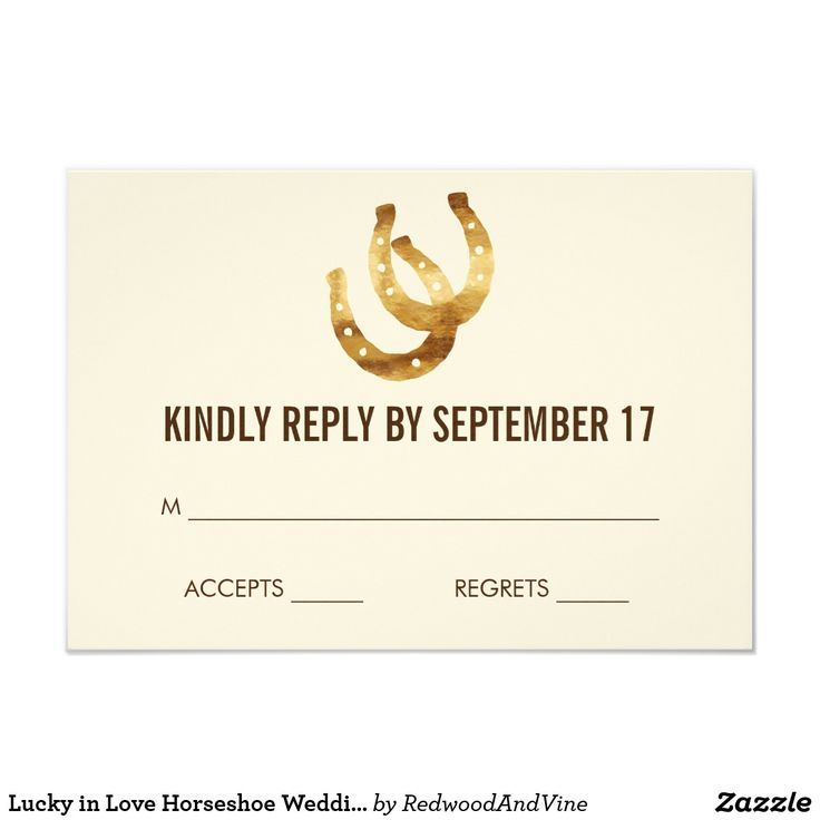 Lucky in Love Horseshoe Wedding RSVP Response Card Design features two golden horseshoes and matches our Lucky in Love Horseshoe wedding invitation set. Coordinating accessories available in our shop!