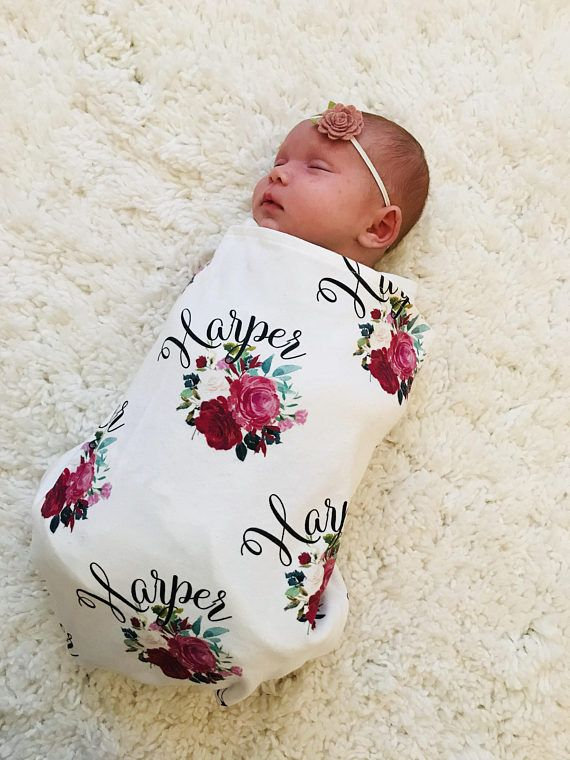 newborn gift baby girl baby shower gift floral baby blanket personalized baby blanket swaddle blanket baby girl gift Custom blanket