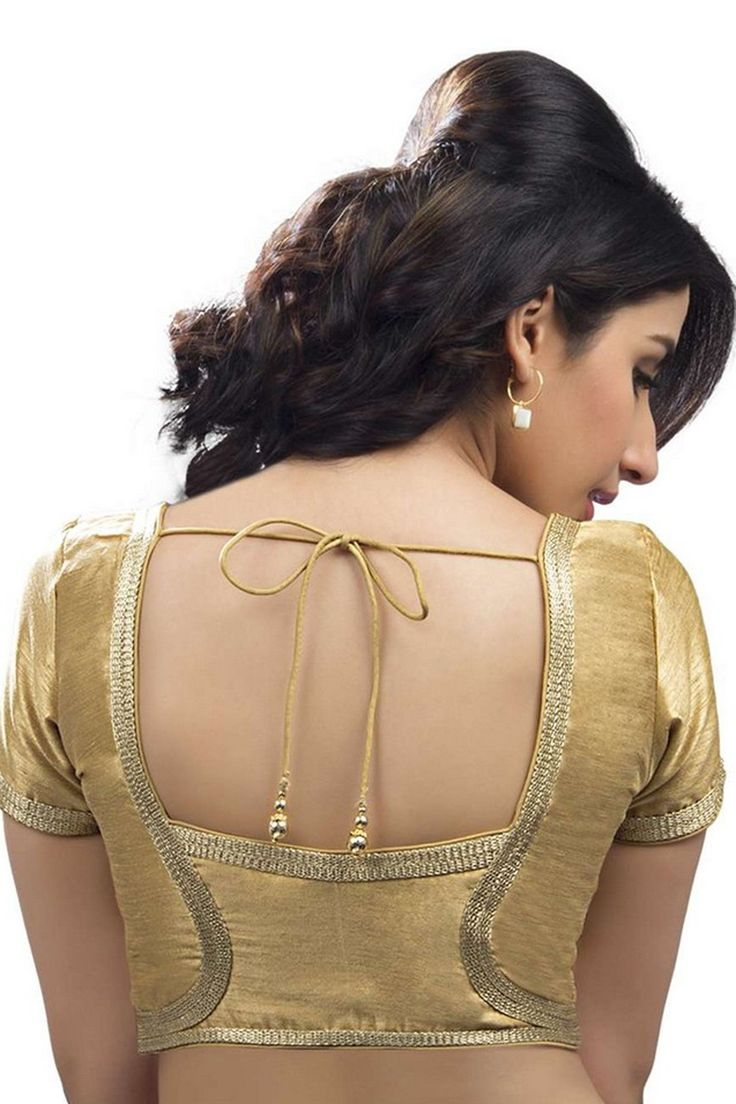 #Gold festive wear raw #silk #blouse with back blunt square neck -BL629
