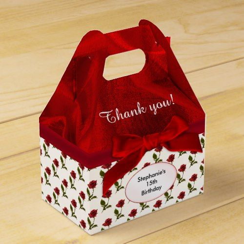 Personalize Thank You Red Roses Pattern Favor Box Zazzle Com