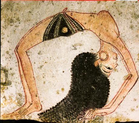 Ostrakon con schizzo di danzatrice; 1292 - 1186 a.C., Nuovo Regno; scaglia di calcare dipinto; Torino, Museo Egizio