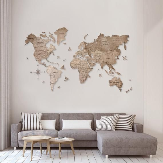 Wooden World Map Wood Large Wall Art Rustic Decor Custom Map Etsy World Map Decor Wall Decor Living Room Room Wall Decor #rustic #wall #art #living #room
