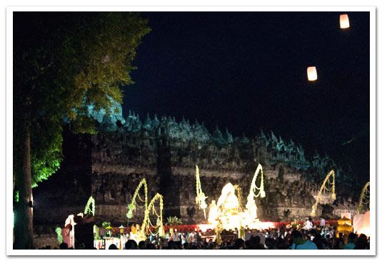 Vaisak Ceremonies around Borobudur Temple. April-May is full moon of Hindu month of Vaisakha. This is the holiest of Buddhist holy days. Also well known with Buddha's Birthday