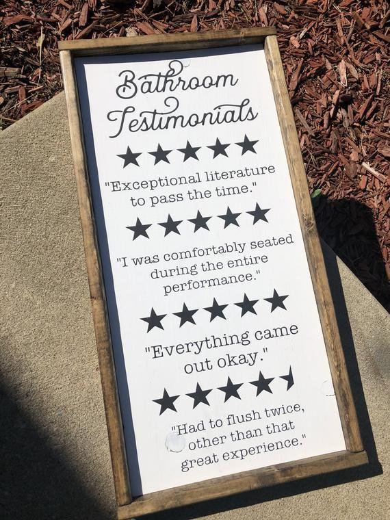 Funny Bathroom Sign Bathroom Review Sign Farmhouse Decor Etsy