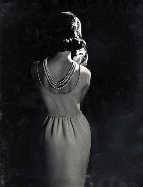 Jackie O and her pearls  Prom idea :) love the back of this