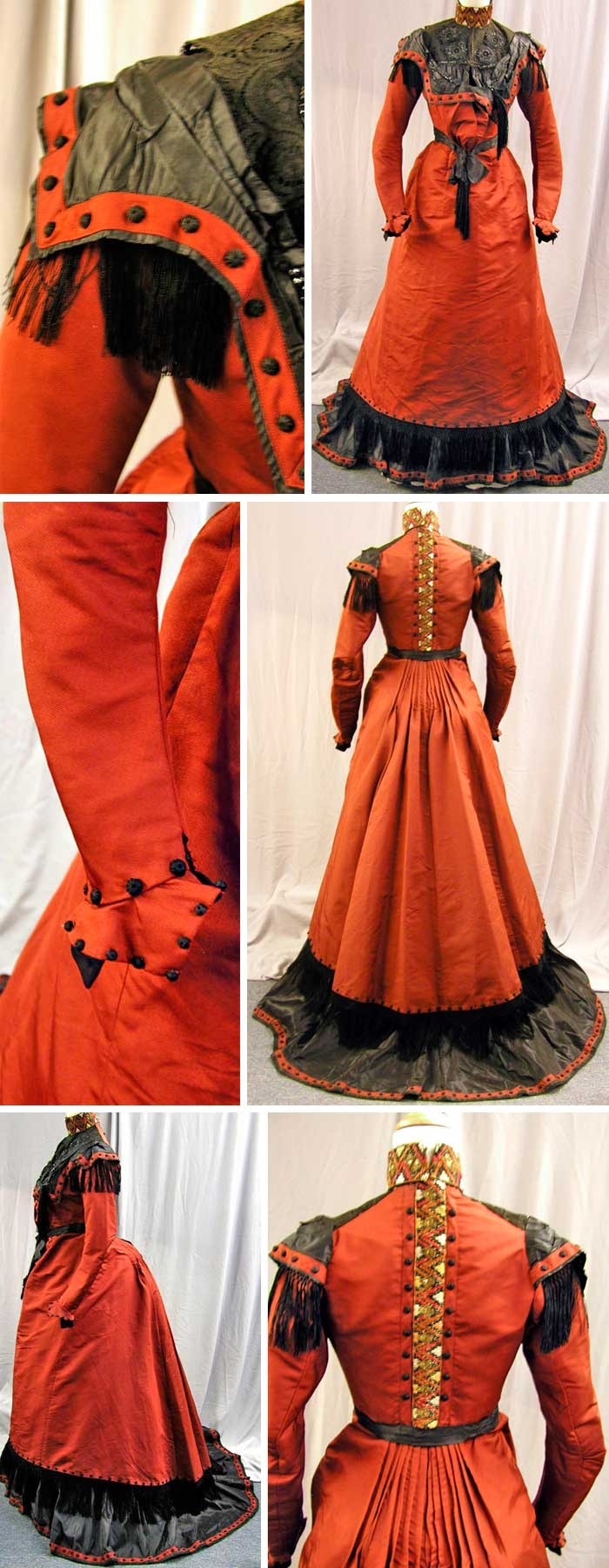 Circa 1890s Walking dress by Bostic of Boston. Deep rust silk trimmed in black silk, completely lined in cotton. First layer of trim at bottom of skirt is fringe. Via extantgowns.blogspot.com.au/.