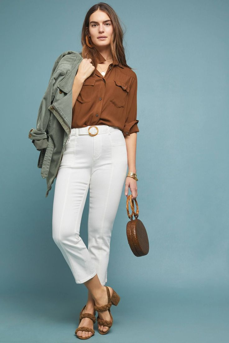 Pilcro High-Rise Slim Straight Jeans by and the Letterpress in White Size: 25, Women's Denim at Anthropologie