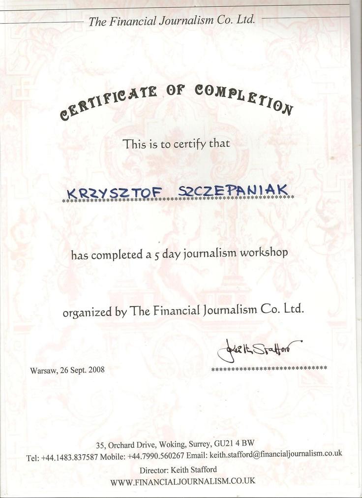 Certyfikat kursu nt. dziennikarstwa biznesowego, prowadzonego przez byłego redaktora Reutersa