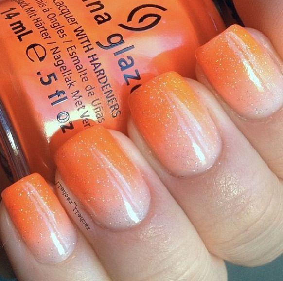 Orange and white nails | Orange ombre nails, Sns nails ...
