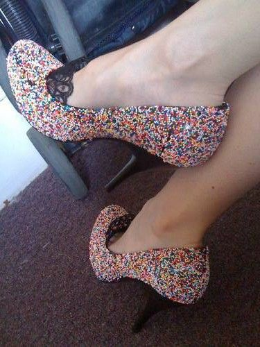 DIY shoes with sprinkles 20 DIY Shoe Makeover Ideas i actually like the lace infront of the shoe
