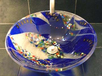 Another shot of the Hollywood CA fused glass sink..Bonnie Rubinstein Studio.