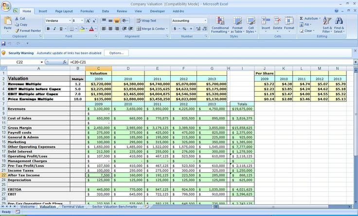 business plan excel spreadsheet template