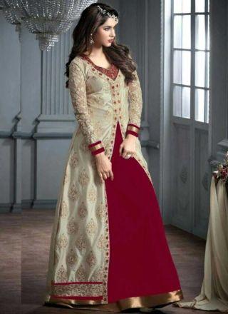Designer Maroon And Cream Georgette Party Wear Long Anarkali Salwar Kameez http://www.angelnx.com/Salwar-Kameez