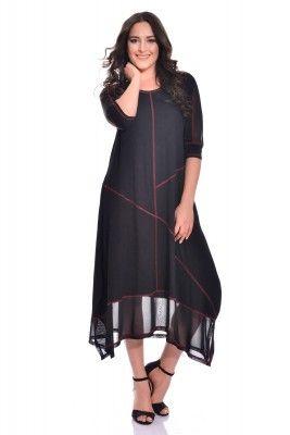 VALERİA FRATTA - Tül Detayli Asimetrik Siyah Elbise VF7001