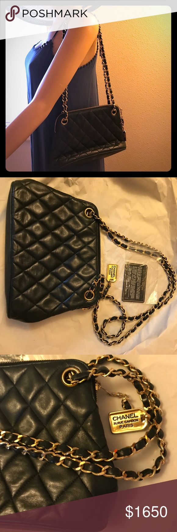 AUTH Chanel Black Lambskin Shoulder Bag. AUTH Chanel Black Quilted Lambskin Leather Chain Shoulder Bag. Serial number is 1136195.  Made in Italy.  Leather has wrinkles, little discoloration, scuffing, and scratches. Color: Black; Bag length: 9.4in; Height: 6.2in; Depth: 3.1in. Strap drop: 11.4in.   Come with Authenticity card.  Price will be reduced with PayPal. CHANEL Bags Shoulder Bags