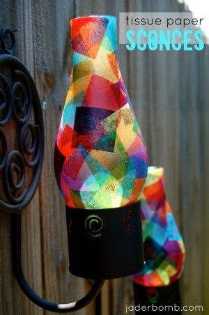 Make Your Own Tissue Paper Sconce - Use Mod Podge and colorful tissue paper for this decorative craft.