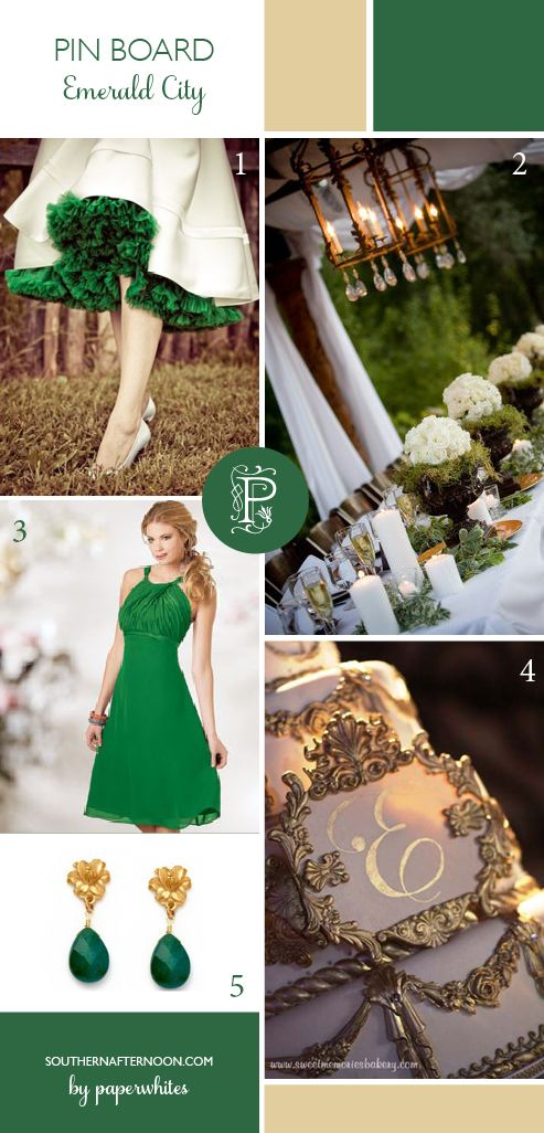 A collection of emerald green wedding images, collected by Paperwhites, a stationery boutique, from our blog southernafternoon.com