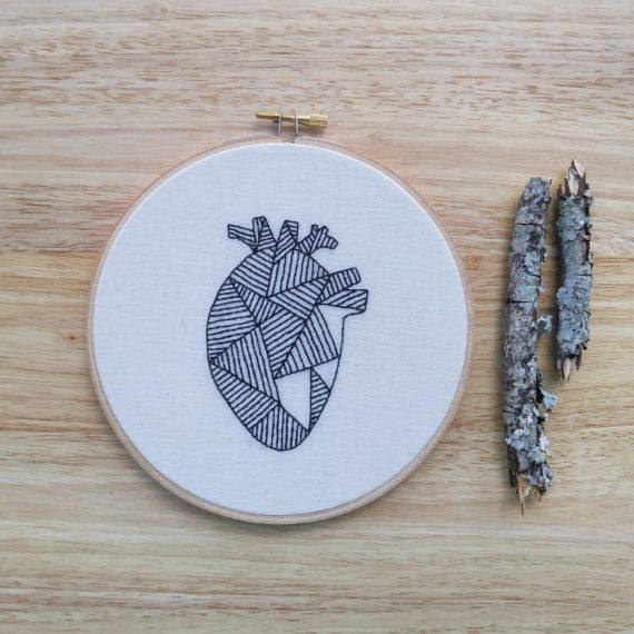 Geometric Heart Embroidery Hoop