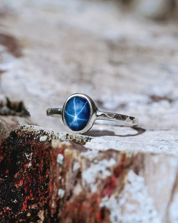 Star Sapphire Ring, White Gold Ring, Blue Star Sapphire Engagement Ring, Unique Ring Gold, Promise Ring, September Birthstone Jewelry