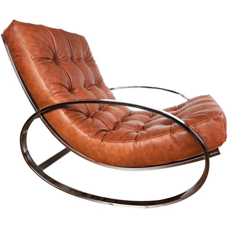 Leather and chrome rocking chair by Milo Baughman