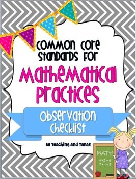 Common Core Mathematical Practices - Observation Checklist FREEBIE!