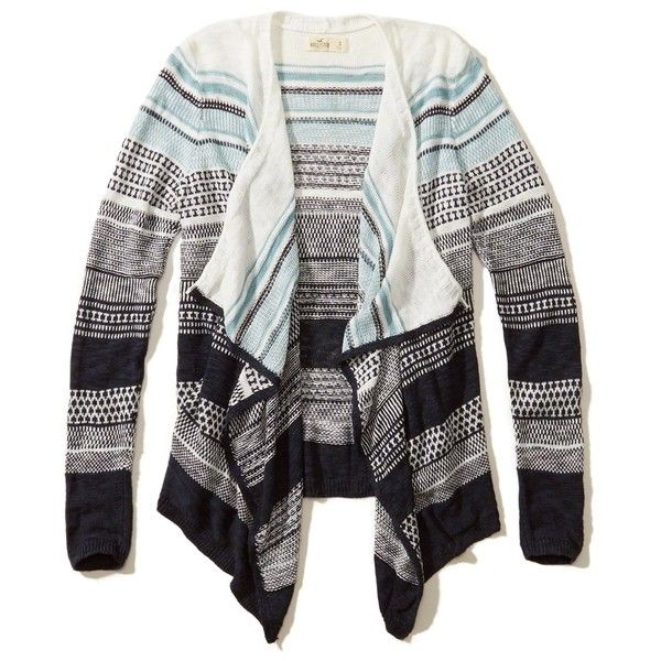 Hollister Patterned Non-Closure Blanket Cardigan (145 BRL) ❤ liked on Polyvore featuring tops, cardigans, navy pattern, navy blue top, multi color cardigan, white cardigan, navy blue cardigan and striped top