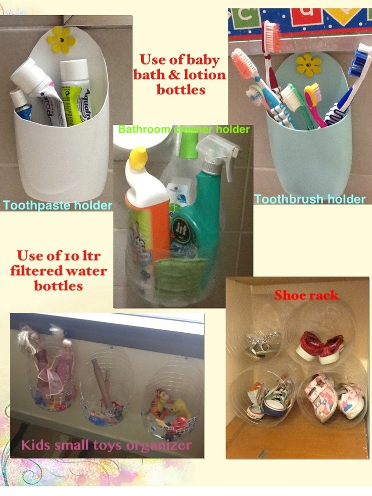 Ideas to recycle used baby bath , lotion bottles and 10 ltr water bottles.