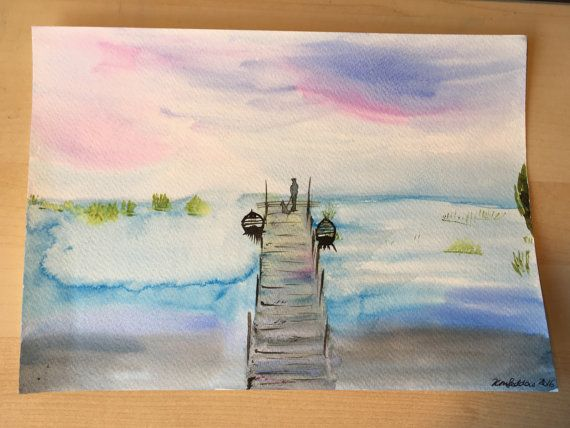 Man and dog on the jetty Original Watercolour by KnottyThistle