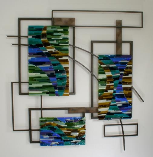 Fused glass and metal wall sculpture by Bonnie M Hinz