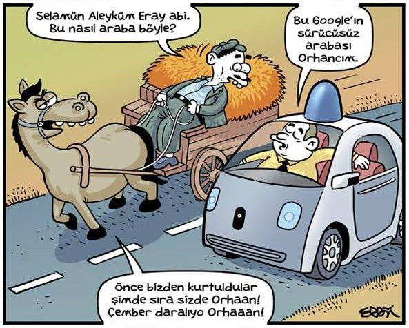 - Selamün aleyküm Eray abi. Bu nasıl araba böyle? + Google'ın sürücüsüz arabası Orhancım. - Önce bizden kurtuldular şimde sıra sizde Orhaan! Çember daralıyo Orhaaan! #karikatür #mizah #matrak #komik #espri