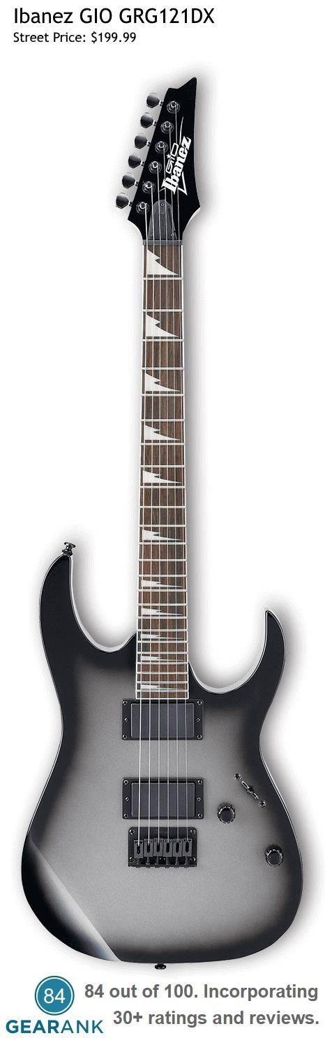Ibanez GIO GRG121DX. The GIO series was developed for players who want Ibanez quality in a more affordable package. For a detailed guide to cheap electric guitars see https://www.gearank.com/guides/cheap-electric-guitars