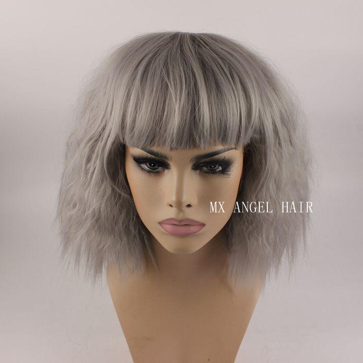 카 아름다운 곱슬 중간 긴 회색 합성 레이스 머리 가발 내열 무거운 밀도 여성 깔끔한 뱅 가발