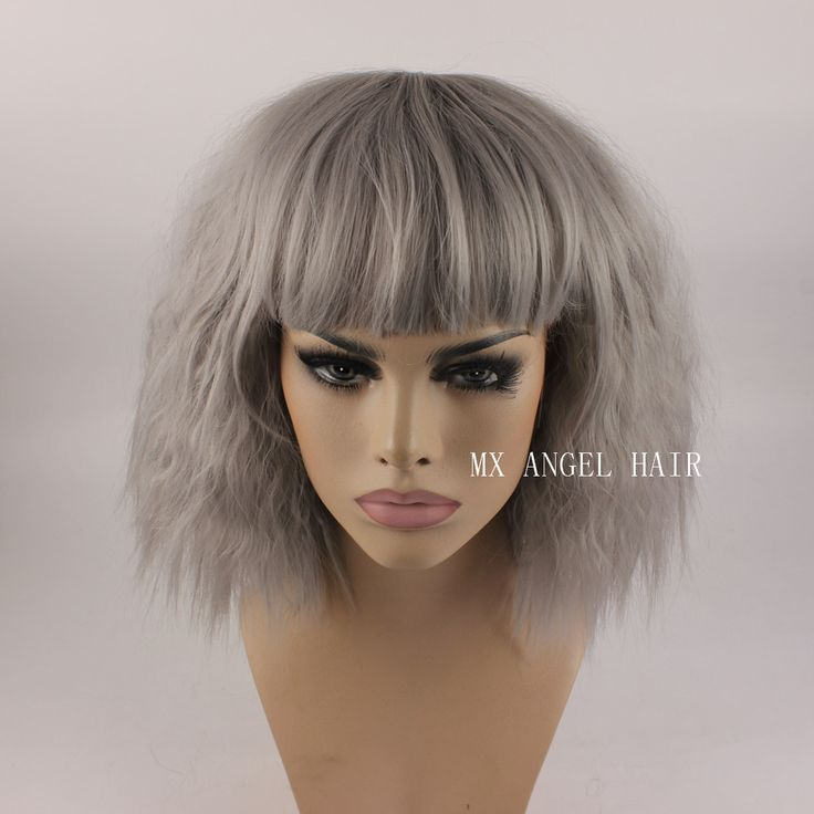 KA Beautiful Curly Medium Long Grey Synthetic No Lace Hair Wigs Heat Resistant Heavy Density Women Neat Bang Wigs