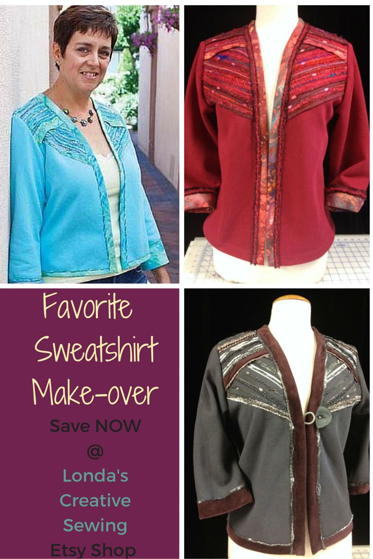 Sweatshirt Makeover sewing patterns - book of 8 SALE priced NOW at new Etsy Shop: https://www.etsy.com/listing/259030600/sweatshirt-transformations-sweatshirt?ref=shop_home_active_2