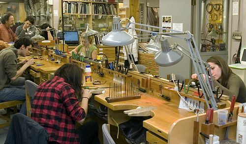like the tool storage at the bench...  Students creating their own jewelry in the Claflin Jewelry Studio, Hopkins Center  by Dartmouth Flickr, via Flickr