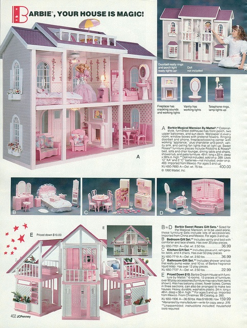 Barbie Magical Mansion, Sweet Roses Furniture and Dream House from the J.C. Penney Christmas Catalog, 1990, by Wishbook, via Flickr