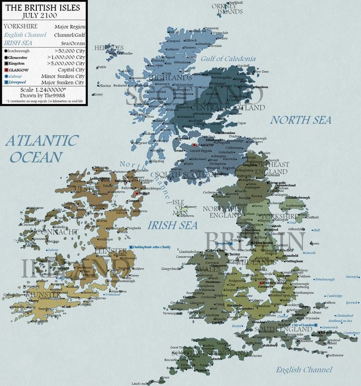 British Isles in 2100 by Jay Simons. This is the map of the British Isles in fictional 2100 rising sea level scenario. Shown a sea level risen by 100 metres since 2000. Good to see St Albans is still there and is now a coastal city!