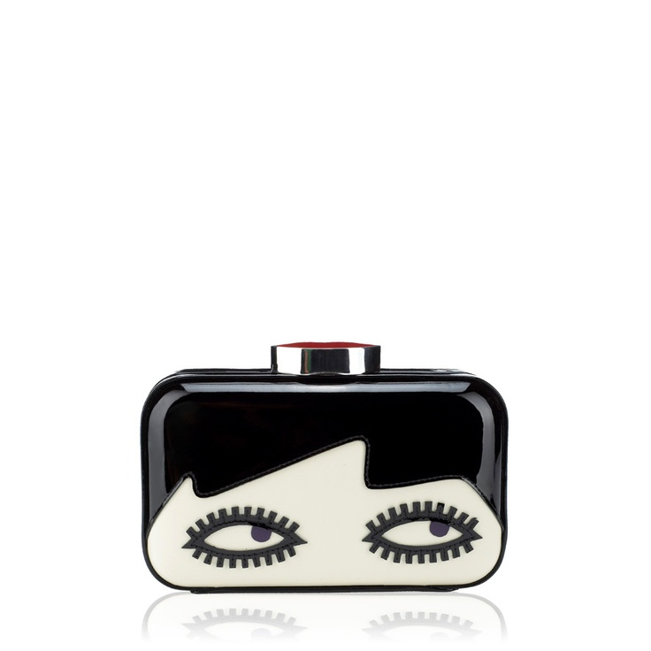 Black Doll Face Fifi Clutch Clutches from handbag and accessory designer Lulu Guinness