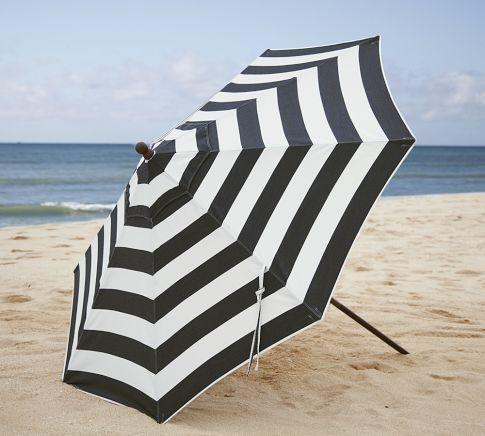 Sunbrella® Round Umbrella - Black & White Stripe | Pottery Barn