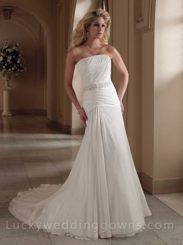 Strapless Asymmetrically Ruched Bodice Bridal Wedding Gown
