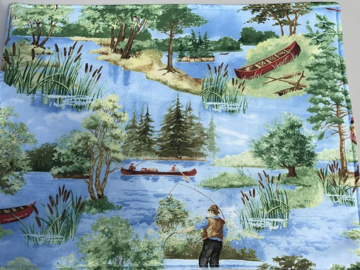 Lake Cabin Decor, Placemats, Vacation Mode, Rustic Placemats,  Table Mats, Cabin Decor, Fishing, Canoe, Cottage Decor,Blue Placemats by SewWhatbyMindyKay on Etsy