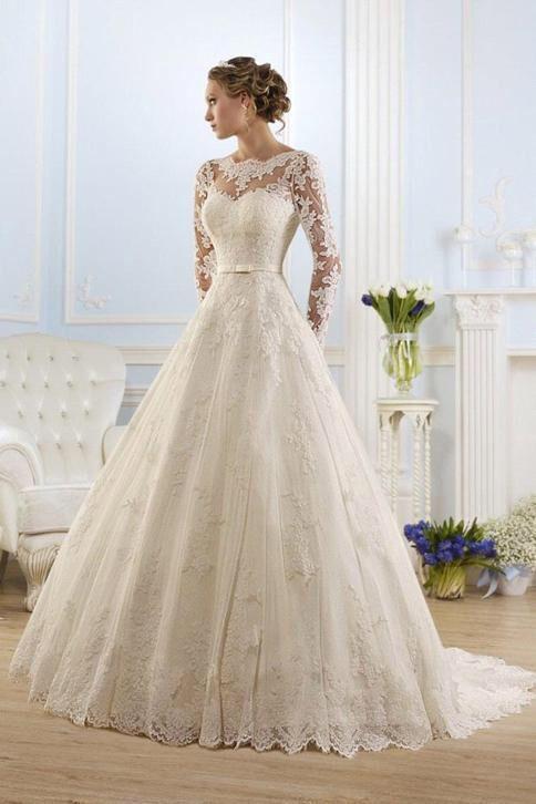 Prinsessen trouwjurk lange mouwen budget bruidsjurk op maat
