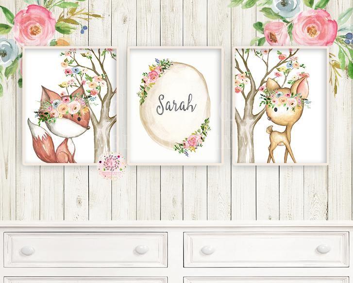 c1d4ba9dffcce NEW 3 Boho Deer Fox Baby Name Wall Art Print Woodland Bohemian ...