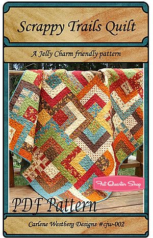Scrappy Trails quilt pattern. Jelly roll and Charm pack friendly.