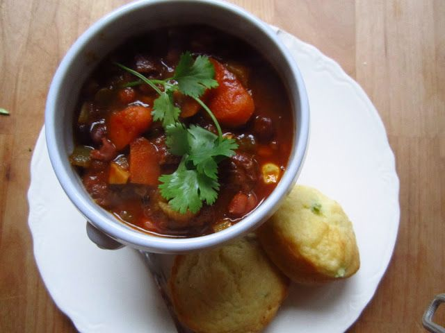 Chorizo and Corn Chili with Ancho and Chocolate served with Sweet Scallion Corn Muffins