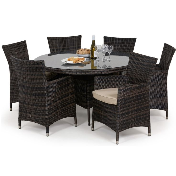 Maze Rattan's Miami 6 seat round dining set is the perfect addition to any garden. Featuring 6 Miami chairs complete with padded seat cushions. Available in Mixed Brown and Mixed Grey the all weather rattan can be left outdoors all year round meaning no fuss when the weather arrives.